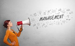 Person speaking in loudspeaker with business concept. Person holding megaphone and yelling business, management conceptn stock image