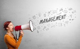 Person speaking in loudspeaker with business concept. Person holding megaphone and yelling business, management concept stock image