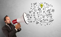 Person speaking in loudspeaker with ideas concept royalty free stock photos