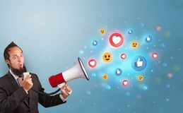 Person speaking in loudspeaker with social media concept royalty free stock photography