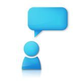Person with speech bubble. Blue vector icon Stock Photos