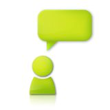 Person with speech bubble. Green vector icon Royalty Free Stock Photography