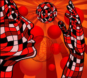 Person and sphere. Face and hand with sphere isolated over abstract red background Stock Photography