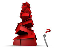 Person and stack of houses. 3d illustration of person with question marking looking at tall stack of balanced red houses, isolated on white background Royalty Free Stock Photos