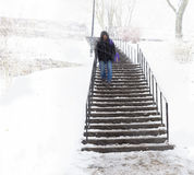 Person in staircase in snow Stock Photos