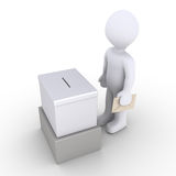 Person standing before a ballot box. 3d person holding an envelope is in front of a ballot box Stock Photography