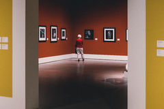 Person Standing in Front of Paintings Royalty Free Stock Images