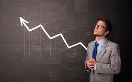 Person standing with increasing graph concept royalty free stock photo