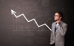 Person standing with increasing graph concept royalty free stock photos
