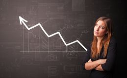 Person standing with increasing graph concept. Young person standing with increasing graph conceptn royalty free stock photos