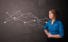 Person standing with increasing graph concept royalty free stock images