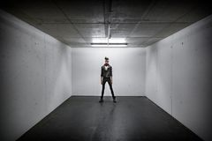 Person Standing Inside White Wall Box Room Stock Photography