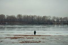 Person Standing Near Body of Water Stock Photography