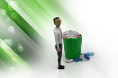 Person standing next to a trash can Royalty Free Stock Photo