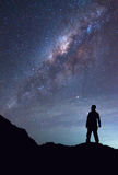 A person is standing and seeing Milky Way galaxy on night sky.  Stock Photos