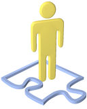 Person stands inside puzzle piece border Royalty Free Stock Photo