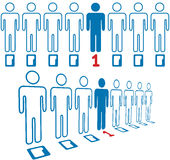 Person stands out line of digital people Royalty Free Stock Images