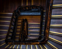 Person start go climb up the circle stairs - long way Royalty Free Stock Image