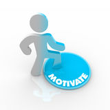 Person Stepping Onto Motivate Button Stock Photography