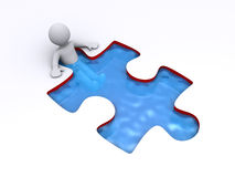 Person is successful inside puzzle shaped pool. 3d person is bathing inside a puzzle shaped pool Stock Photo