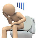 A person suffering from constipation. 3D illustration Stock Image