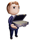 Person with suitcase of money. 3D illustration Royalty Free Stock Image