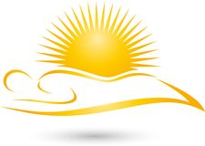 Person and sun, colored, tanning and solarium logo Royalty Free Stock Photography
