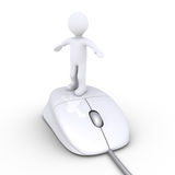 Person surfing online. 3d person standing on a computer mouse Royalty Free Stock Photos