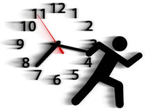 Person symbol run time race against clock. Person symbol in a rush runs against a clock in a race with time Stock Photos
