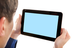 Person with Tablet Computer Stock Photo