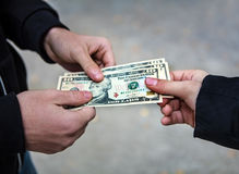 Person take the Money Stock Image