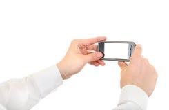 Person Take un'immagine con un cellulare Fotografie Stock Libere da Diritti