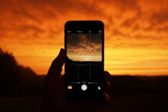 Person Taking Photo Using Smartphone Stock Images