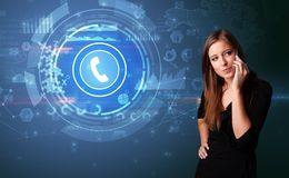 Person talking on the phone with calling concept stock photography