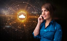 Person talking on the phone with cloud technology concept royalty free stock images