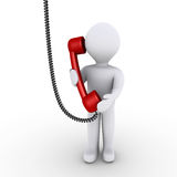 Person is talking on the telephone. 3d person is talking on the telephone that is hanging from above Stock Photography