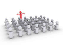 Person is teaching many others. 3d person is standing in front of others that are sitting Royalty Free Stock Photos