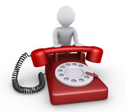 Person is with telephone. 3d person is leaning on a telephone Royalty Free Stock Image