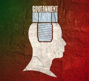 Human head with word government flat icon. Stock Image