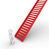 Person thinking about climbing staircase. 3d person is in front of a rising staircase Stock Photos