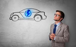 Person thinking with drawn car concept royalty free stock photos