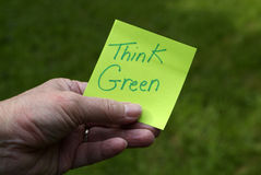 Environmentally friendly person thinks green idea Stock Images