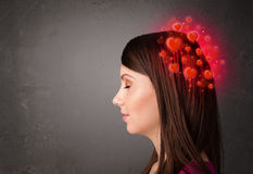 Person thinking about love with red hearts Royalty Free Stock Photography