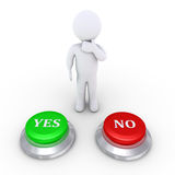 Person thinking what button to push. 3d person is behind one Yes button and one No button Stock Images