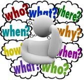 Person Thought Clouds Who What de pensamento quando onde porque ilustração do vetor