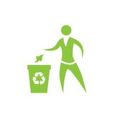 Person throw rubbish to recycle bin symbol vector. Logo illustration Royalty Free Stock Photo