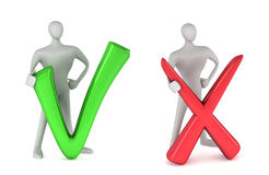 Person with tick and person with negative symbol Royalty Free Stock Image