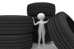 Person with tires Stock Photo