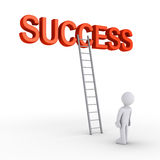 Person about to reach success. 3d SUCCESS word with a ladder leaning to it and a person Royalty Free Stock Images