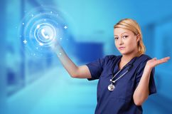 Person touching clinic call center concept. Doctor touching blue screen with call center concept stock illustration